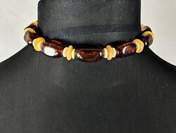Gorgeous Trifari Vintage Amber Lucite Beads Beaded Necklace Choker Jewellery