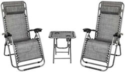 Vingli 3 Pcs Zero Gravity Chair Lounge Outdoor Chairs With Side Table Folding