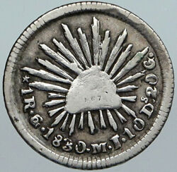 1830 Mexico Eagle And Liberty Cap Silver Antique Vintage Real Old Coin I88059