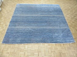 11'8 X 11'8 Square Hand Knotted Blue Modern Gabbeh Oriental Rug With Silk G9585