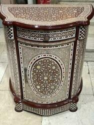 Antique Egyptian Curving Wood Sideboard, Inlaid Mother Of Pearl