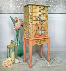 Butterfly Dance / Sherbet/ Sunrise/ Sunset/ Orange/ Coral/ Jewelry Armoire