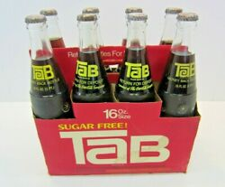 Tab Soda Eight Pack, Full Coca Cola Vintage Warning Label On Case And Cap