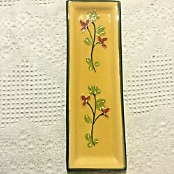 T. Comme Terre plate yellow decorative floral red green made in France art