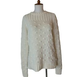 Vince Camuto White Knit Crew Neck Sweater Small New With Tag