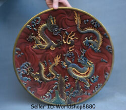 14.8 Old China Dynasty Red Lacquerware Painting 2 Dragon Bead Plate Tray Screen