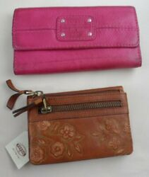 LOT of 2 FOSSIL WALLETS NWT BROWN amp; used PINK LEATHER checkbook wallet $35.00