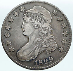 1829 Usa Eagle And Liberty Antique Vintage Old Silver 50c Half Dollar Coin I88096