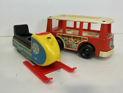 Vintage Fisher Price Mini Bus 141 Snowmobile 705 Lot Of 2