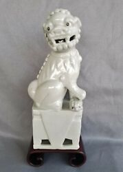 Vintage Blanc De Chine Foo Dog Statue On Wood Stand Guardian Chinese 8.5