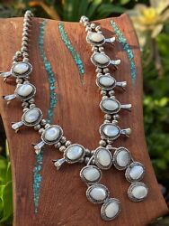 Native American Necklace Vintage Mother Of Pearl Squash Blossom Authentic Indian