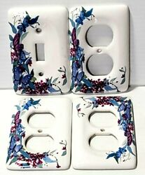 Handpainted Flower Outlet Covers + Light Switch Cover.ceramic. Lot Of 4. Vintage