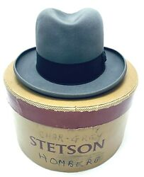 Vintage Royal Stetson Homburg Hat For Youngs Ny Box Char-grey 7 1/4 Gift Fedora