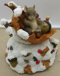 Charming Tails Fitz And Floyd Silent Night Music Box Christmas Mouse 93/450