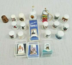 Lot Of 20 Vintage Thimbles Various Sizes / Materials Advertising Collectible