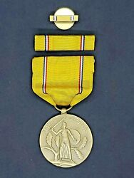 Wwii Us Army American Defense Service Medal W/ Ribbon And Bar 1941