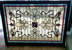 Great Victorian Antique Stained Glass Window 32 X 46
