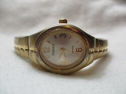 Carriage By Timex Wristwatch Gold Toned Expansion Band Oval Shaped Face