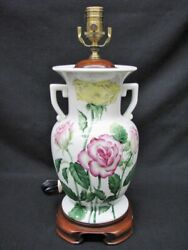 White Porcelain Lamp With Hand Painted Roses By Wildwood Signed And Numbered