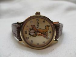 Armitron Garfield Wristwatch Brown Buckle Band Gold Toned Face Collectible