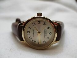 Carriage By Timex Wristwatch Brown Leather Buckle Band Gold Toned Face Wr 30m