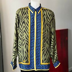 Gianni Versace Silk Shirt Animal And Greek Key Print Size It 52 From Fw 1996/97