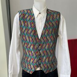 Gianni Versace 90s Men's Vest Quilted Harlequin Print Size It 52