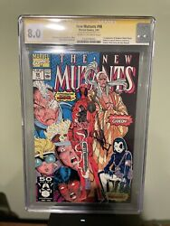 The New Mutants 98 Cgc 8.0 Signed Rob Liefeld First App. Deadpool