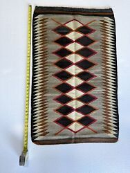 Old Early Navajo Rug 41andrdquox25andrdquoblanket Native American Colorful Textile Weaving