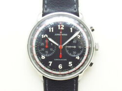 Junghans 027.3381.00 Chronograph Black Leather Automatic Ss Menand039s Watch [b0129]