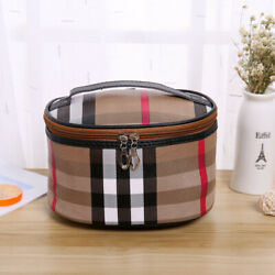Personalized Cosmetic Case Bag Plaid Beige Red Designer Inspired Large Deep Gift $12.99