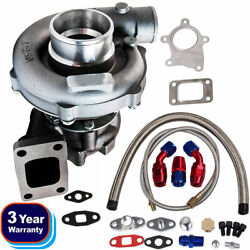 T3/t4 T04e A/r.63 Stage Iii Boost Anti Surge Turbo Charger And Oil Feed Line Kit