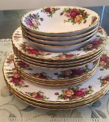Royal Albert Old Country Roses 16 Piece 22k Gold Accented Bone China Set 4 New