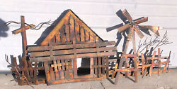 Curtis C. Jere Styled Brass Copper Barn Windmill Fence Sculpture