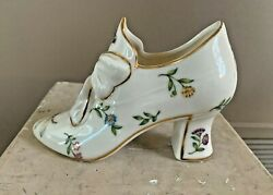 Porcelain Glass Shoe Slipper Flowers Dragonfly And Bumble Bee Burton And Burton