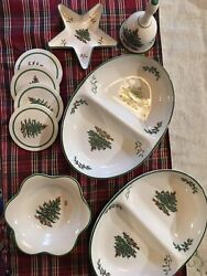 13 Spode Christmas Tree 2 Oven Dishes 4 Mug And Coasters 2 Candy Dishes 1 Bell
