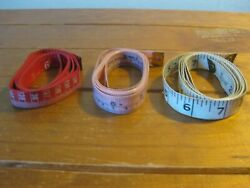 3 X Vintage Sewing Measuring Tapes -fibreglass Materialengland Taiwan And China