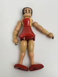 Rare Vintage 1931 Betty Boop Wooden Composition Action Figure 4-1/2 Usa