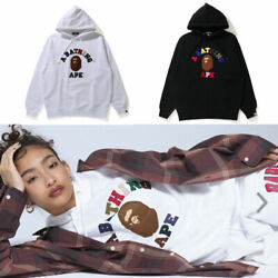 A Bathnig Ape Ladies' College Applique Oversized Pullover Hoodie 2colors New