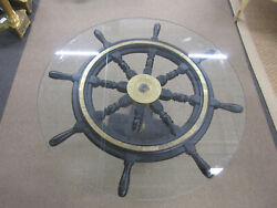 Antique John Hastie And Co. Greenock Ship Wheel Coffee Table With Glass