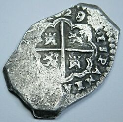 1629/8 Overdate Silver 2 Reales 1600's Dated Spanish Colonial Pirate Cob Coin