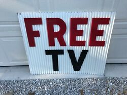 2 Sides Vintage Hotel Motel Advertising Sign Free Tv 1960's Peoria Il Corrugated