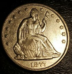 Usa - 1877 - Seated Liberty Half Dollar - About Uncirculated .900 Ag - Km 108