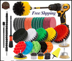 New Drill Brush Attachment Set Power Scrubber Brush Bathroom Cleaning Kit Grout
