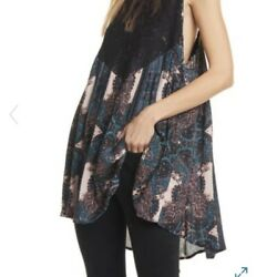 Free People Count Me In Trapeze Mini Dress Black Floral