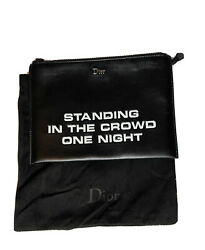 Dior Homme Standing In The Crowd One Night Leather Black Zip Pouch