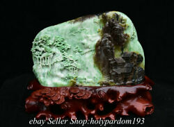 13.6 Chinese Natural Green Dushan Jade Carving Mountain House Tree Statue