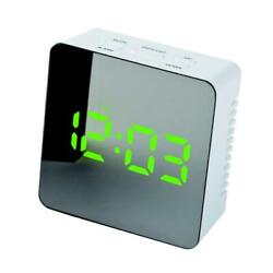 Mute Table Snooze Digital Alarm Clock Thermometer Mirror Night Green LED Green