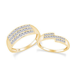 1.13 Ct White Natural Diamond His And Hers Wedding Band Ring Set 14k Yellow Gold