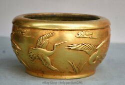 7 Xuande Marked Old Chinese Dynasty Palace Copper Gold Crane Pot Jar Crock